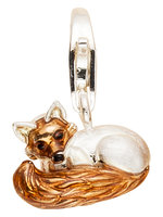 """Alraune Fuchs"" Charm Sterling Silber teilweise mit Email"
