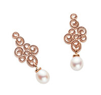 """Alraune Cairo"" Earring Sterling Silver rose gold plated  Fresh Water Cultured Pearls drop"