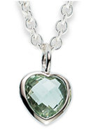 """Alraune Mint Quarz"" Pendant Sterling Silver Gemstone and Anchor Chain 42cm/1,5mm Sterling Silver"